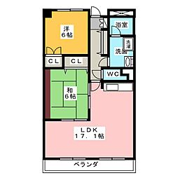 愛知県名古屋市緑区西神の倉2丁目の賃貸マンションの間取り