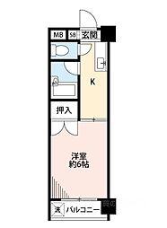 泉尾4丁目1Kマンション[3階]の間取り