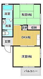 静岡県浜松市中区佐鳴台5丁目の賃貸アパートの間取り