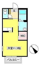 キャピトルリーフA 2階ワンルームの間取り