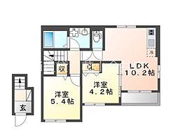 西武多摩湖線 武蔵大和駅 バス9分 奈良橋市民センター下車 徒歩7分の賃貸アパート 2階2LDKの間取り