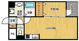 京都市営烏丸線 五条駅 徒歩5分の賃貸マンション 4階1LDKの間取り