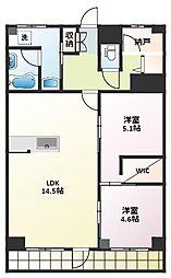 上社南住宅5号棟[1階]の間取り