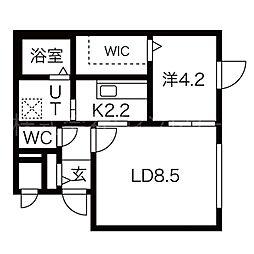 札幌市電2系統 山鼻9条駅 徒歩8分の賃貸マンション 3階1LDKの間取り