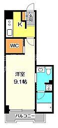 JR中央本線 武蔵小金井駅 バス10分 喜平橋下車 徒歩9分の賃貸マンション 4階1Kの間取り