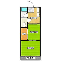 竹田ハイツ[1階]の間取り