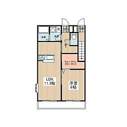 JR青梅線 東中神駅 徒歩11分の賃貸アパート 1階1LDKの間取り