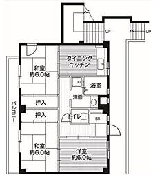 ビレッジハウス亀井野 3号棟[505号室]の間取り