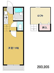 東京都江戸川区上篠崎2の賃貸アパートの間取り