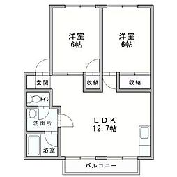向田ハイツ[2階]の間取り