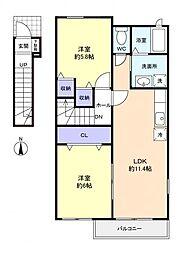 千葉県船橋市二和西3丁目の賃貸アパートの間取り