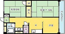 オアシス三萩野[5階]の間取り
