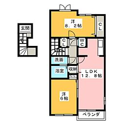愛知県名古屋市天白区梅が丘1丁目の賃貸アパートの間取り