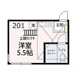 JR京浜東北・根岸線 洋光台駅 徒歩14分の賃貸アパート 2階ワンルームの間取り