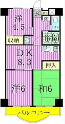 クロシェット松戸[4階]の間取り