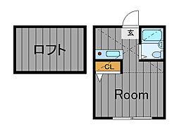 ハーミットクラブハウス鶴ヶ峰D[2階]の間取り