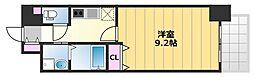 TKアンバーコート津久野 7階1Kの間取り