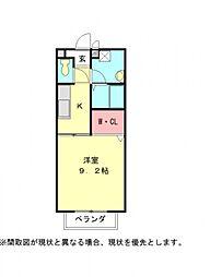 愛知県小牧市中央1丁目の賃貸アパートの間取り