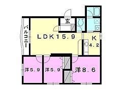 久米コンセールマンション[302 号室号室]の間取り