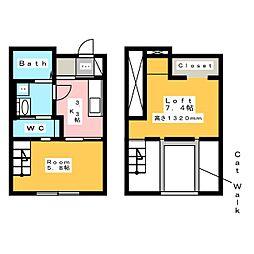 [新築] モフズヴィラ イマガワ 2階1Kの間取り