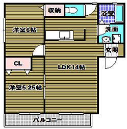 三日市ユタカマンション[2階]の間取り