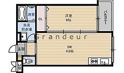 JR片町線(学研都市線) 徳庵駅 徒歩2分の賃貸マンション 3階1DKの間取り