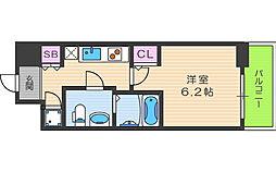 アドバンス西梅田ラシュレ 10階1Kの間取り