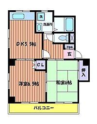 東京都立川市高松町2丁目の賃貸マンションの間取り