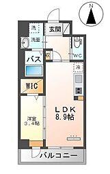 JR鹿児島本線 竹下駅 徒歩14分の賃貸マンション 3階1LDKの間取り