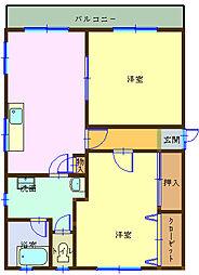中田ハイツ 2階2LDKの間取り
