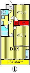 東京都葛飾区四つ木2丁目の賃貸マンションの間取り