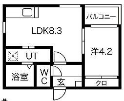 愛知県名古屋市西区名西1丁目の賃貸アパートの間取り