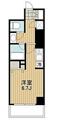 東急田園都市線 駒沢大学駅 徒歩2分の賃貸マンション 28階ワンルームの間取り