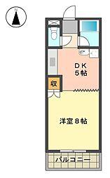 愛知県長久手市平池の賃貸マンションの間取り