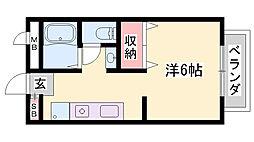 JR東海道・山陽本線 姫路駅 バス25分 西坂口下車 徒歩2分の賃貸アパート 1階ワンルームの間取り