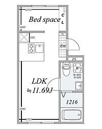 東急大井町線 戸越公園駅 徒歩3分の賃貸マンション 3階1LDKの間取り