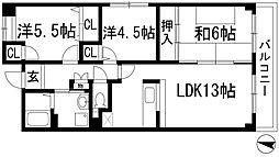 フレア花屋敷[1階]の間取り