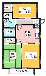 メゾン・ドゥ・ラ・メール[2階]の間取り
