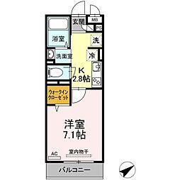 JR山陽本線 福山駅 徒歩35分の賃貸アパート 3階1Kの間取り