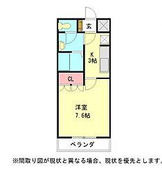 愛知県江南市布袋町西の賃貸アパートの間取り