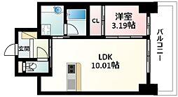 Osaka Metro御堂筋線 江坂駅 徒歩5分の賃貸マンション 17階1LDKの間取り