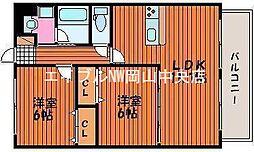 岡山県岡山市中区藤崎の賃貸マンションの間取り