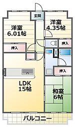 シャトー三木第3 3階3LDKの間取り
