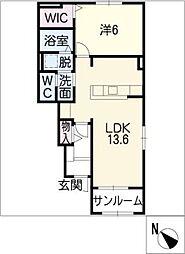 ベルアルモニー C[1階]の間取り