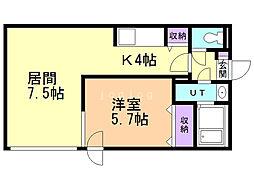 パトラス東札幌 1階1LDKの間取り
