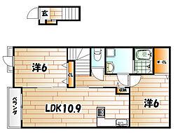 福岡県北九州市若松区宮丸2の賃貸アパートの間取り