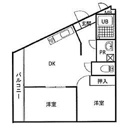 ドエルクレスト新蒲田 bt[106kk号室]の間取り
