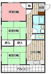 大誠ハイツ[301号室]の間取り