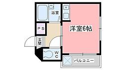 京都府京都市山科区御陵鴨戸町の賃貸アパートの間取り