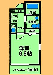 JR横浜線 橋本駅 徒歩11分の賃貸アパート 2階1Kの間取り